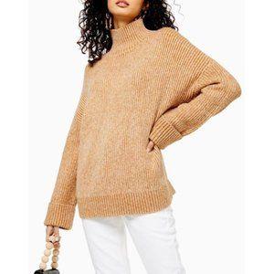 Topshop Camel Brown Cozy Funnel Neck Sweater Sz 12